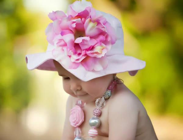【美國 Jamie Rae】寶寶帽 / 遮陽帽 抗UV防曬 淡粉紅底_淡粉紅牡丹款