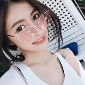 粉紅少心凹造型太陽眼鏡 平光鏡金屬框瘦臉墨鏡【五巷六號】y216