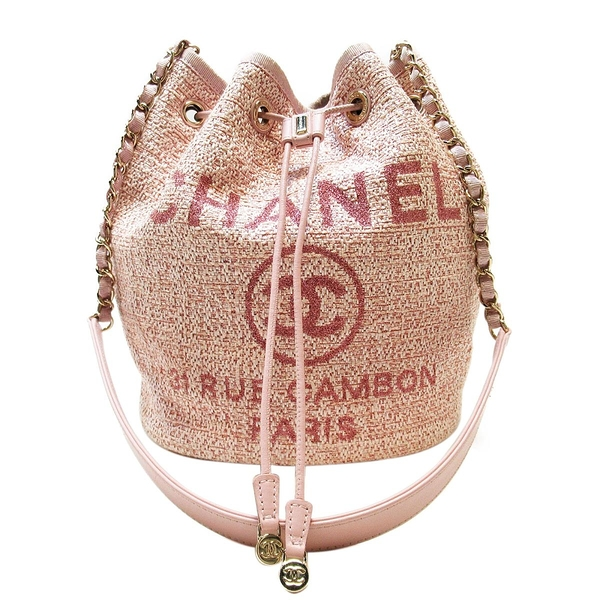 CHANEL 香奈兒 粉色草編肩背斜背水桶包Deauville Drawstring Bucket Bag【BRAND OFF】