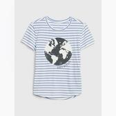 Gap女童創意可撥動亮片圓領T恤546061-深淺藍色條紋