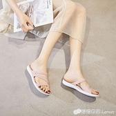 夏季平底果凍涼拖鞋女塑料涼鞋旗袍軟膠防滑雨鞋沙灘鞋水晶洞洞鞋 檸檬衣舍