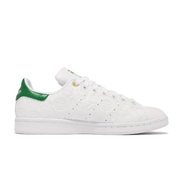 【海外限定】adidas 休閒鞋 Stan Smith 白 綠 女鞋 壓紋圖騰 小白鞋 三葉草 愛迪達【ACS】 FX5674
