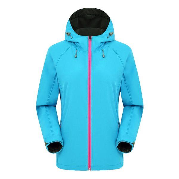 保暖防風防水刷絨衝鋒外套-女款天藍