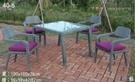 【南洋風休閒傢俱】戶外休閒桌椅系列-紫荷休閒餐桌椅組 餐桌椅組 適 餐廳 庭院 民宿( HT-383)
