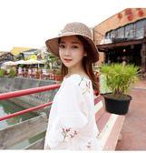 海灘帽 可折疊出口日本蝴蝶結混色編織漁夫帽草帽子夏季女出游沙灘帽 芭蕾朵朵