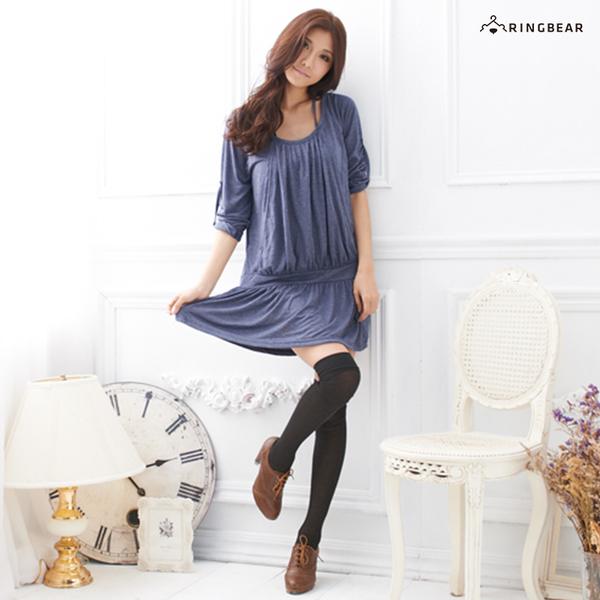 洋裝--浪漫女神系裝扮-抓皺垂墜感後綁帶反折袖洋裝/長上衣(黑.粉.藍.紫M-2L)-A87眼圈熊中大尺碼