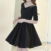 新款黑色復古赫本風小黑裙女蓬蓬裙春季娃娃領洋裝子