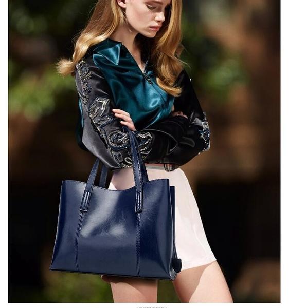 潮流時尚歐美油皮托特包 高貴手提女包 簡約雙肩帶包 百搭手拿包單肩休閒女包大容量 多功能