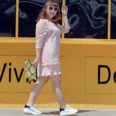 胖人裙子中大尺碼女裝胖mm寬鬆韓版秋裝新款蕾絲褶皺假兩件連身裙【463】