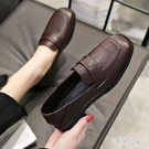 女鞋2019新款秋鞋韓版高跟鞋英倫風休閒小皮鞋百搭爆款粗跟單鞋子YJ4242【宅男時代城】