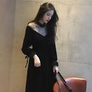 2018秋冬新款中長款內搭加厚絲絨洋裝一字肩黑色性感網紗裙子女