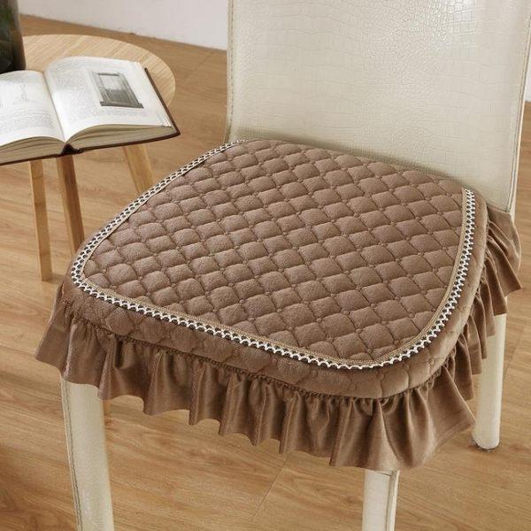 雙12鉅惠 簡約秋冬保暖絨可拆洗加厚家用實木餐桌椅子坐墊帶綁帶防滑凳座墊