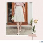 《CA1990》仙女氣息蕾絲雕花傘襬A字中長裙 OrangeBear