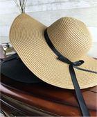 帽子女夏天沙灘帽海邊渡假帽 蝴蝶結飄帶遮陽帽女防曬草帽可折疊  無糖工作室