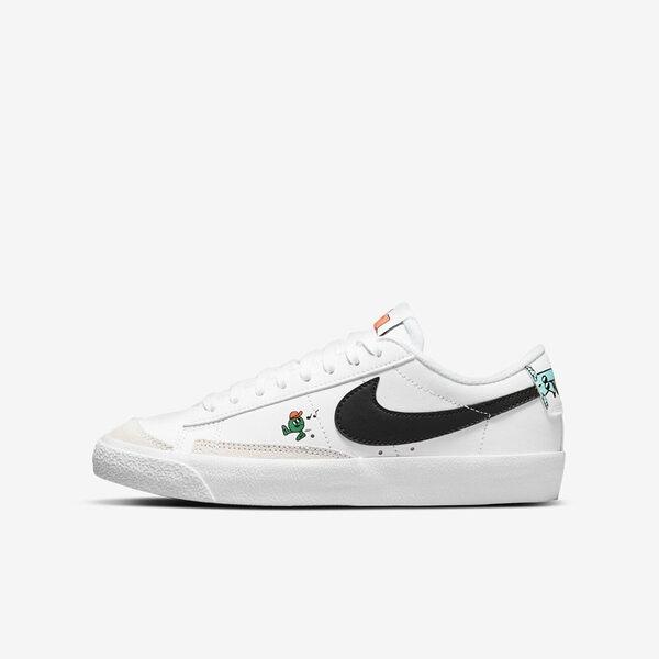 Nike Blazer Low 77 Bg [DJ5201-106] 大童鞋 運動 休閒 塗鴉 經典 舒適 耐穿 白
