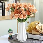 陶瓷小花瓶白色干花滿天星創意水培綠蘿花瓶擺件客廳插花家居裝飾 設計師生活百貨