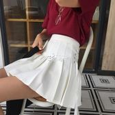 百褶裙 粉色百褶裙韓版女裝半身A字短裙可愛蝴蝶結繫帶裙潮 俏腳丫