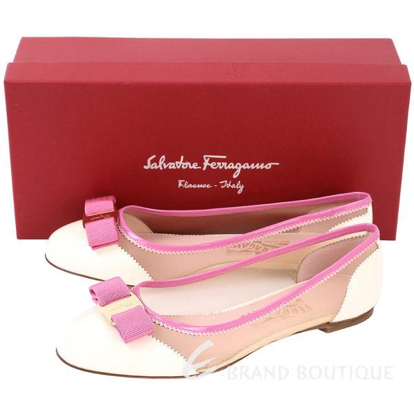 Salvatore Ferragamo Varina Net漆皮透膚娃娃鞋(粉白) 1720250-03