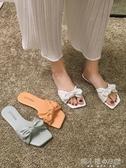 可愛涼拖鞋女外穿新款夏季網紅ins潮蝴蝶結平底時尚百搭拖鞋 韓小姐