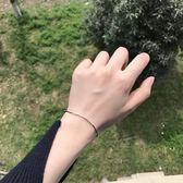 銀質彎管手鍊女幾何簡約日正韓學生黑抽繩細編制繩手禮物限時八九折