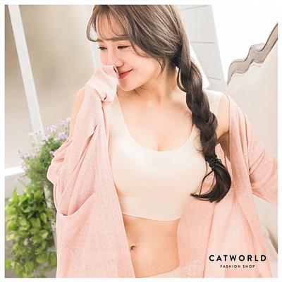 Catworld 純真物語。無痕冰絲BRA背心內褲組(膚)【18802292】‧S/M/L/XL
