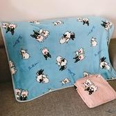 可愛卡通單人毛毯空調毯狗狗圖案小被子藍色法蘭絨單層沙發毯【邻家小鎮】