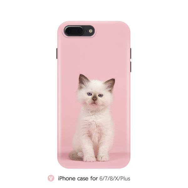 iPhoneX手機殼 可掛繩 寵物殼 超萌粉底暹邏貓 磨砂軟殼 蘋果iPhone8X/i7/i6Plus