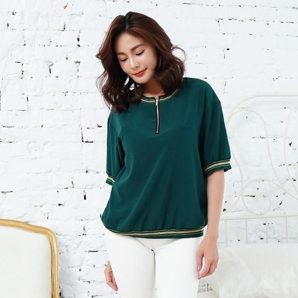 闕蘭絹 精緻款拉鍊設計藍色蠶絲上衣-6001(綠)
