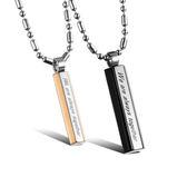 【5折超值價】  316L西德鈦鋼新款歐美熱賣款創意個性簡約立柱情侶項鍊