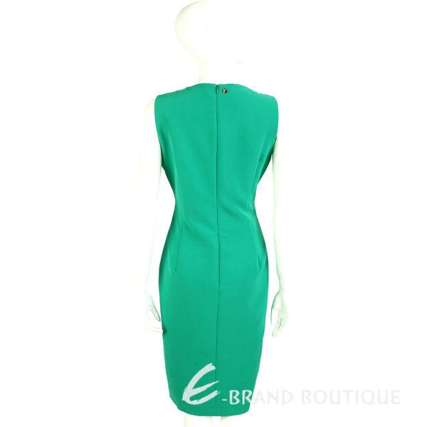VERSACE 翡翠綠素面修身剪裁無袖洋裝 1620328-08