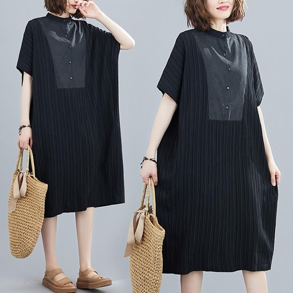 立領洋裝 立領洋裝夏季寬鬆休閒顯瘦文藝中長裙拼接大碼短袖女裝-Milano米蘭