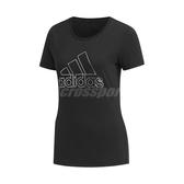 adidas 短袖T恤 Foil Badge of Sport Tee 黑 白 女款 輪廓 大Logo 修身剪裁 【PUMP306】 DY8680