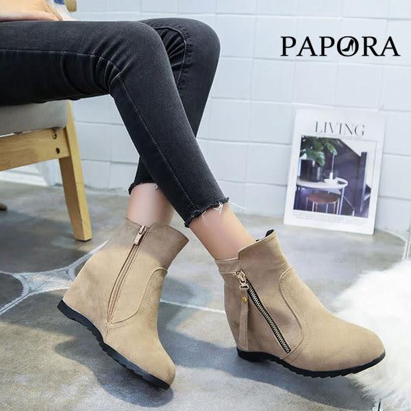 PAPORA潮流小心機內增高短靴KYK568黑/卡其(偏小)