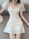 方領洋裝 輕熟風性感連身裙2021年春裝新款法式小眾設計感網紗仙女初戀裙子 晶彩 99免運