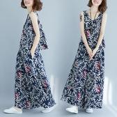 大碼女裝胖mm新款夏季文藝復古棉麻印花無袖上衣闊腿褲裙兩件套裝