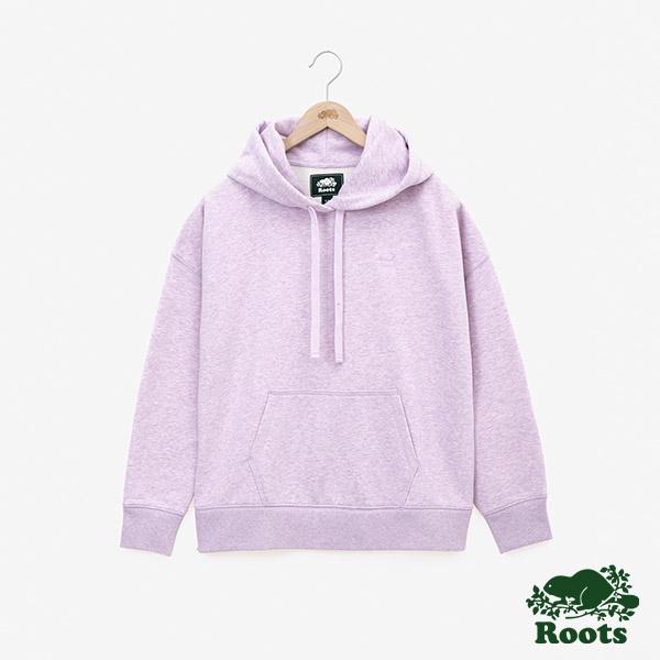 女裝ROOTS - 立體LOGO毛圈布連帽上衣-粉紫