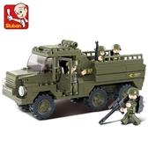 積木兒童智力拼插玩具陸軍運兵車模型男孩6-7-9歲 熊熊物語
