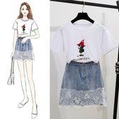 特賣款不退換洋裝短袖裙裝套裝S-XL/32985夏季套裝時尚網紅蕾絲拼接顯瘦牛仔短裙卡通T恤兩件套