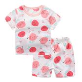 草莓竹節棉透氣短袖上衣+短褲套裝 上衣 褲子 童裝 居家衣服