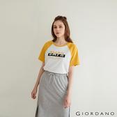 【GIORDANO】女裝牛角袖圓領T恤 - 31 皎雪X亞麻黃