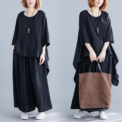 大碼套裝兩件套~7068#胖妹妹洋氣套裝純色闊腿褲遮肉顯瘦女裝兩件套MB151A衣時尚