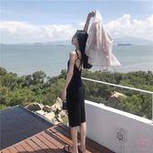 露背洋裝夏韓風小心機性感露背吊帶氣質中長版連身裙女打底裙(一件免運)