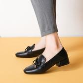 大尺碼女鞋34~43 2020新款英倫方頭蝴蝶結樂福鞋 小皮鞋 低跟休閒鞋~2色