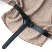 軟純頭層牛皮時尚打結配西裝裙子裝飾黑色寬腰帶女腰封真皮寬皮帶