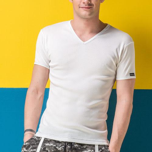 《MORINO》機能休閒吸汗速乾短袖V領衫-白色