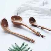聖誕狂歡 廚房用品日式和風櫸木直柄整木大湯勺創意櫸木質竹節手柄水瓢粥瓢