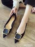 熱賣低跟鞋 平底單鞋女秋季新款低跟百搭尖頭平跟瓢鞋春秋時尚黑色鞋子夏 萊俐亞
