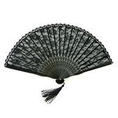 復古宮廷日式蕾絲折疊扇子 歐式古典黑色鏤空蕾絲摺扇女士裝飾