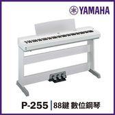 【非凡樂器】YAMAHA P-255 /88鍵數位鋼琴/白色 /含琴架.琴椅.三腳踏 / 贈罩.耳.保養組 / 公司貨保固