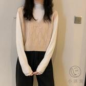 短款寬鬆毛衣v領針織馬甲女背心上衣外穿【小酒窩服飾】
